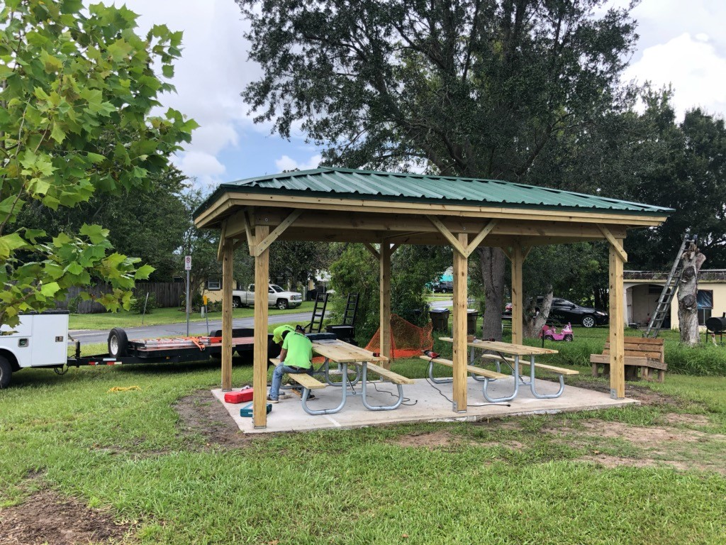 image of shade structure development over playground and picnic area