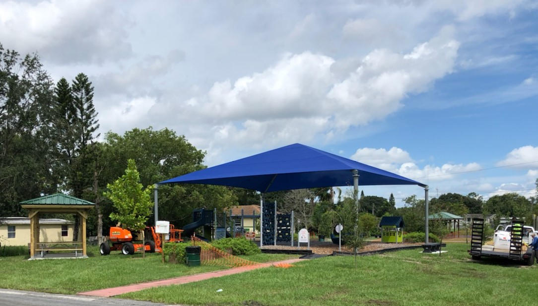 image of shade structure development over playground