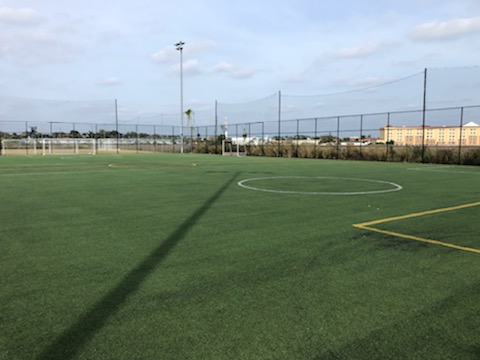 synthetic turf soccer field, image from sideline
