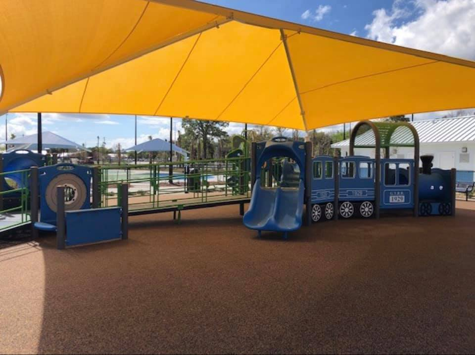 image of newly constructed shade structure, yellow shade