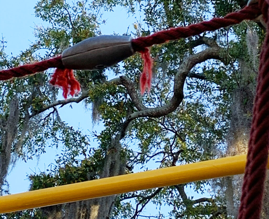 image of frayed rope on playground equipment