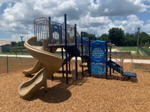 image of newly constructed playground with slides